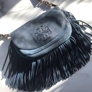 Tory Burch Bags - Tory Burch navy fringe suede crossbody bag